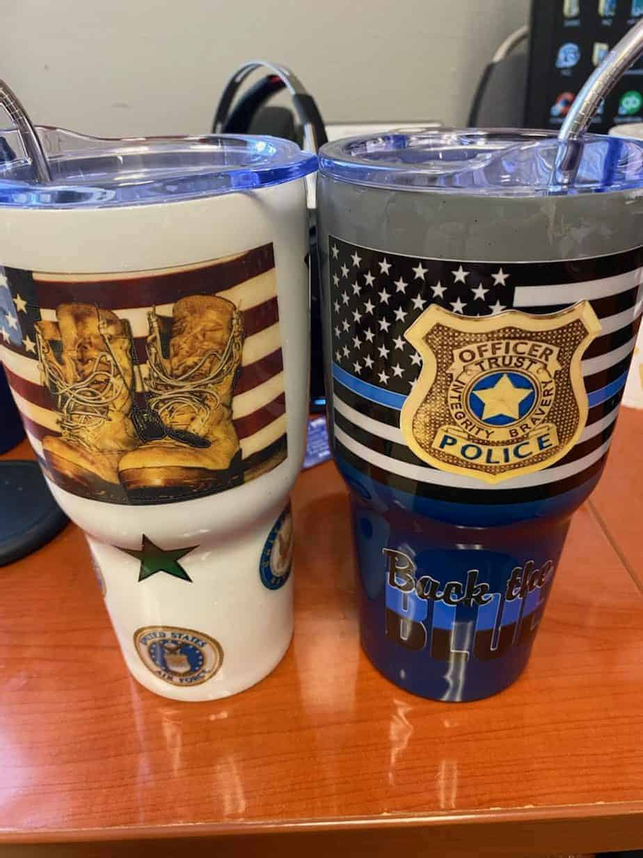 """<span class=""""entry-title-primary"""">Thank You Gary and Joy Capristo</span> <span class=""""entry-subtitle"""">(2) Custom Back The Blue And Green Tumblers</span>"""